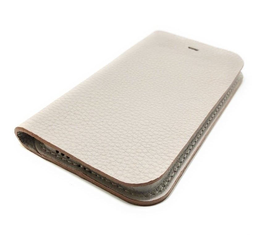 Beige Leather iPhone Case Wallet Side