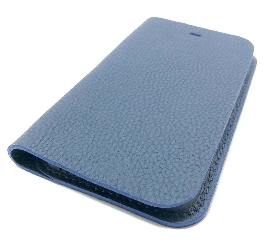 Blue Leather iPhone Case Wallet Side