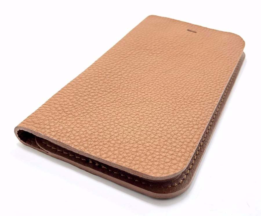 Brown Leather iPhone Case Wallet Side
